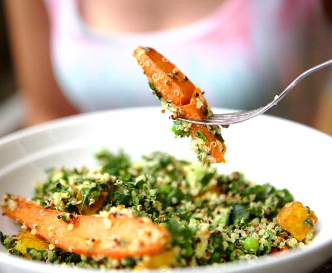 Roast Carrot, Kale, Quinoa Salad
